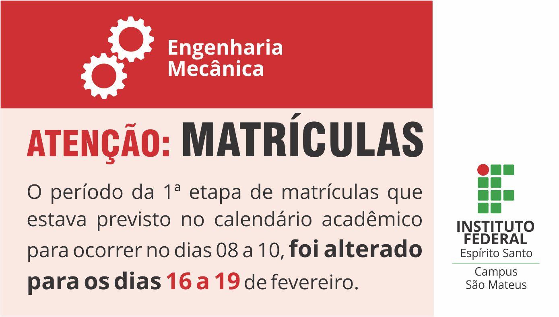 Matrículas Engenharia Mecânica